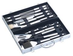 Coffret ustensiles pour barbecue 14 outils avec couteau brosse piques spatules en inox