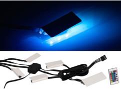 Dispositif d'éclairage pour vitrine - 4 pinces et 12 LED - RVB