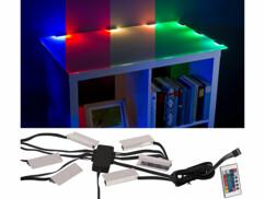 Dispositif d'éclairage pour vitrine - 6 pinces et 18 LED - RVB