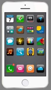 Drap de bain microfibre dessin Smartphone  Blanc - 170 x 100 cm