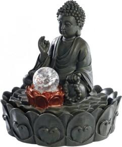 Fontaine lumineuse d'intérieur 'Bouddha' avec boule en verre