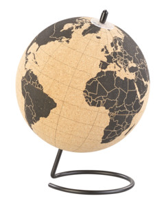 Globe en liège rotatif avec 10 épingles de marquage, Ø 15 cm