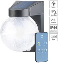 Lampe murale solaire à LED 200lm en verre craquelé avec détecteur de mouvement