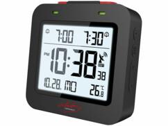 Réveil radio-piloté avec thermomètre et double alarme, noir