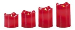 Set de 4 bougies LED en cire véritable - Rouge avec flamme vacillante