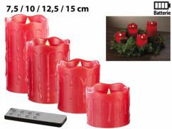 Set de 4 bougies LED en cire véritable - Rouge