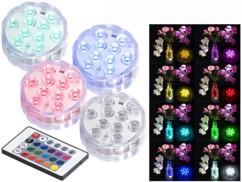lot de 4 mini lampes led couleur rgb rvb etanches pour bassin de jardin pot de fleur