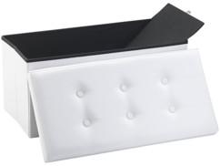 Siège pliable en cuir blanc Infactory avec coffre de rangement80 L.