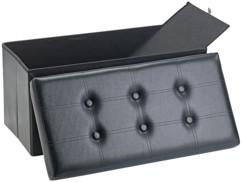 Siège pliable en cuir noir Infactory avec coffre de rangement80 L.