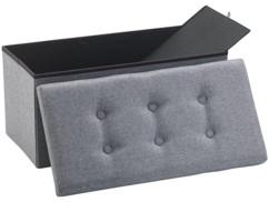 Siège pliable en tissu gris Infactory avec coffre de rangement80 L.