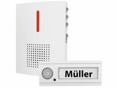 Sonnette sans fil IPX4 avec signal sonore et lumineux FTK-120 - Blanc