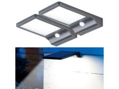 2 spots muraux solaires à LED avec détecteur de mouvement et veilleuse 350 lm