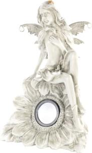 Statue de fée assise avec lampe LED solaire