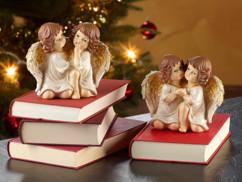 2 duos d'anges de Noël décoratifs - 14 cm