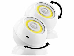2 lampes sans fil 200lm à LED COB et détecteur de mouvement WL-420 - Blanc