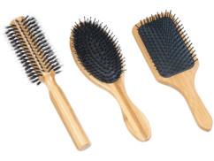 3brosses à cheveux en bambou: ronde, plate et ovale