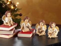 4 anges de Noël décoratifs avec instruments de musique