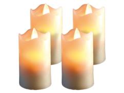 4 bougies à LED scintillante, cire véritable (7,5 cm)