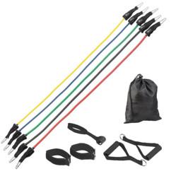 Set de 5 extenseurs pour entraînement des bras epaules jambes abdos avec poignees bracelets