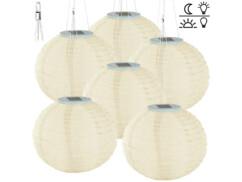 6 lampions solaires Ø 30 cm à LED blanc chaud - x3