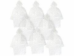 8longs manteaux de pluie à capuche, coloris transparent