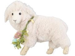 peluche d'agneau pascal avec collier de fleurs decoration de paques