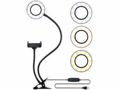 Anneau lumineux LED avec support pour smartphone Ø 9 cm.