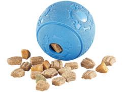 jouet pour chien balle en caoutchouc avec trou pour croquette jeu de reflexion