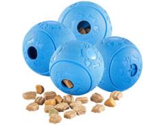 Pack de 4 balles à nourriture pour chien, en caoutchouc naturel
