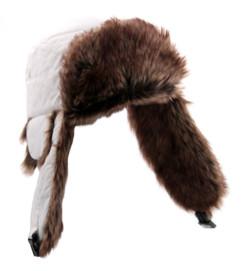 Bonnet Chapka avec doublure type fourrure - Blanc - M