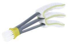 brosse à 3 pattes spéciale stores venitiens avec brosse pour saletés résistantes et chiffon microfibres lavable