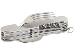 couteau multifonction de camping en acier inoxydable avec couverts integrés semptec