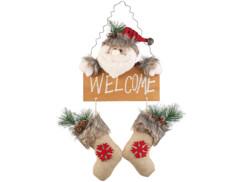 décoration porte d'entree pour noel walcome bienvenue avec chaussettes sapin houx pere noel flocons