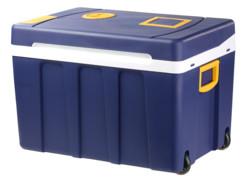 glaciere electrique rigide avec roulettes et trolley alimentation secteur 230v ou allume cigare 12v 50 litres xcase