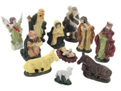 Lot de 11 figurines pour crèche de Noël en porcelaine peintes à la main
