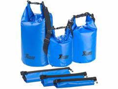 Lot de 3 sacs polochons étanches – 5/10/20 litres - bleu