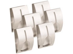 6 porte-serviettes adhésifs en acier inoxydable