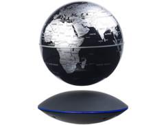 Globe terrestre noir et argent flottant sur socle magnétique idée déco salon