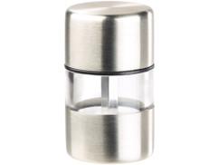 mini poivriere saliere en inox et verre avec broyeur céramique en métal idéal pique nique