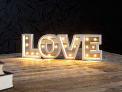 """Miroir décoratif lumineux sans fil """"LOVE"""" avec fonction minuteur"""