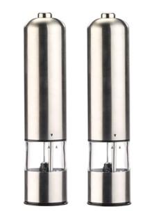 Moulin poivre et sel électrique avec broyeur en céramique - x2 - Gris