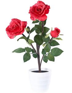 décoration florable rosier artificuel en pot avec petales rouges lumineuses led lunartec ideal fete des meres grand mères