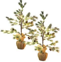 Lot de 2 sapins artificiels enneigés en pot 70 cm