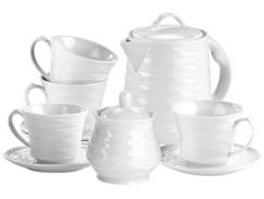 service a café en céramique blanc style rétro ondulé pour bouilloire retro rosenstein