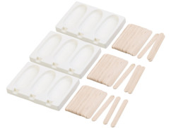 Set de 3 moules en silicone 80ml et 72bâtonnets - Pour 3 glaces