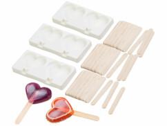 Set de 3 moules en silicone forme cœur 80ml et 72bâtonnets - Pour 2 glaces