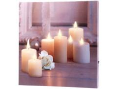 """Tableau lumineux à LED lumière vacillante """"Rose et bougies"""" 30 x 30 cm"""