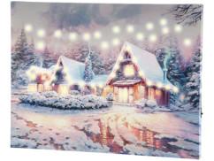 """Tableau lumineux """"Village sous la neige"""" 40 x 30 cm"""