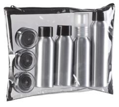trousse hygienique de voyage avec 4 flacons en metal et 4 pots de creme