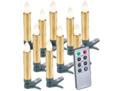 10 bougies LED pour sapin de Noël avec télécommande - coloris Or